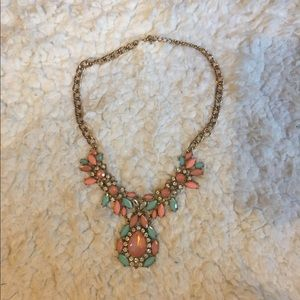 Statement Necklace Pink and Mint